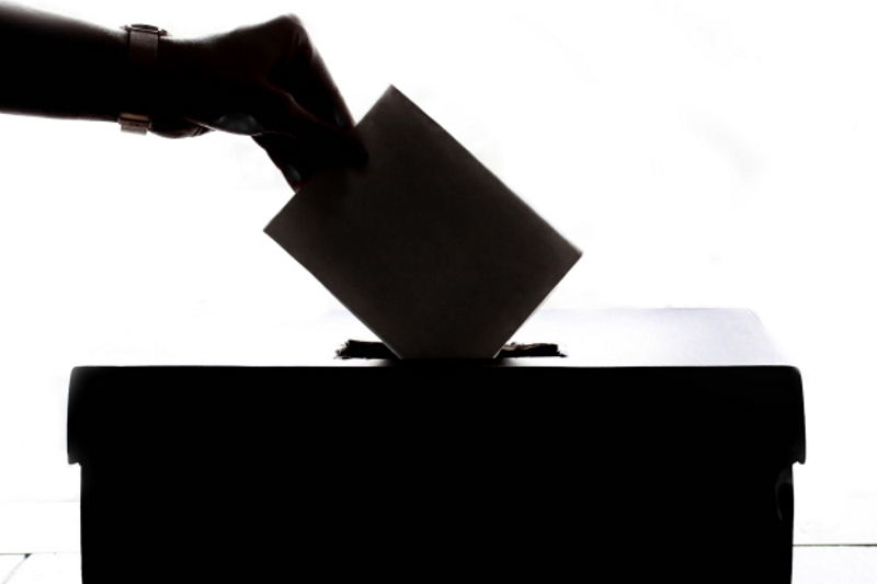 inserting a voting slip in a ballot box