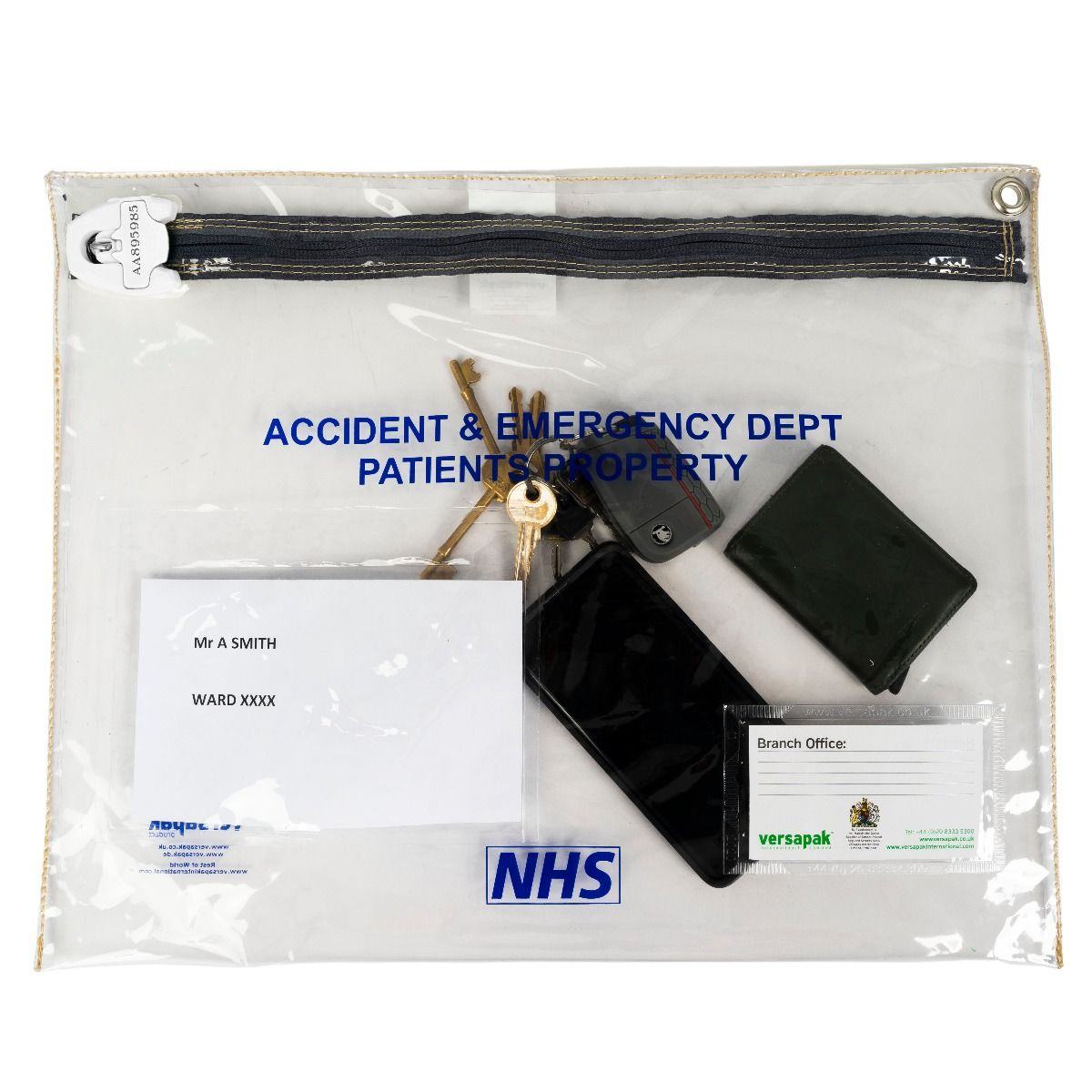 Patient Property Pouch - Accident & Emergency